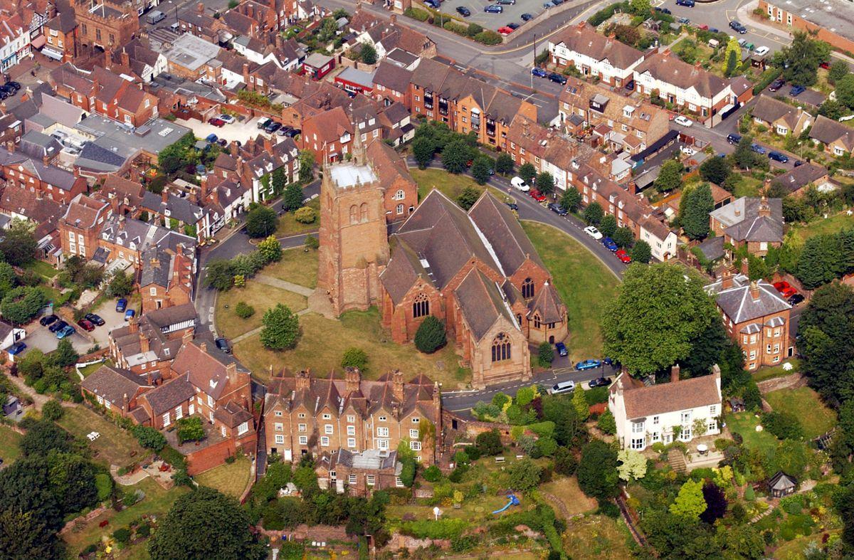 An aerial view of St Leonard's Church