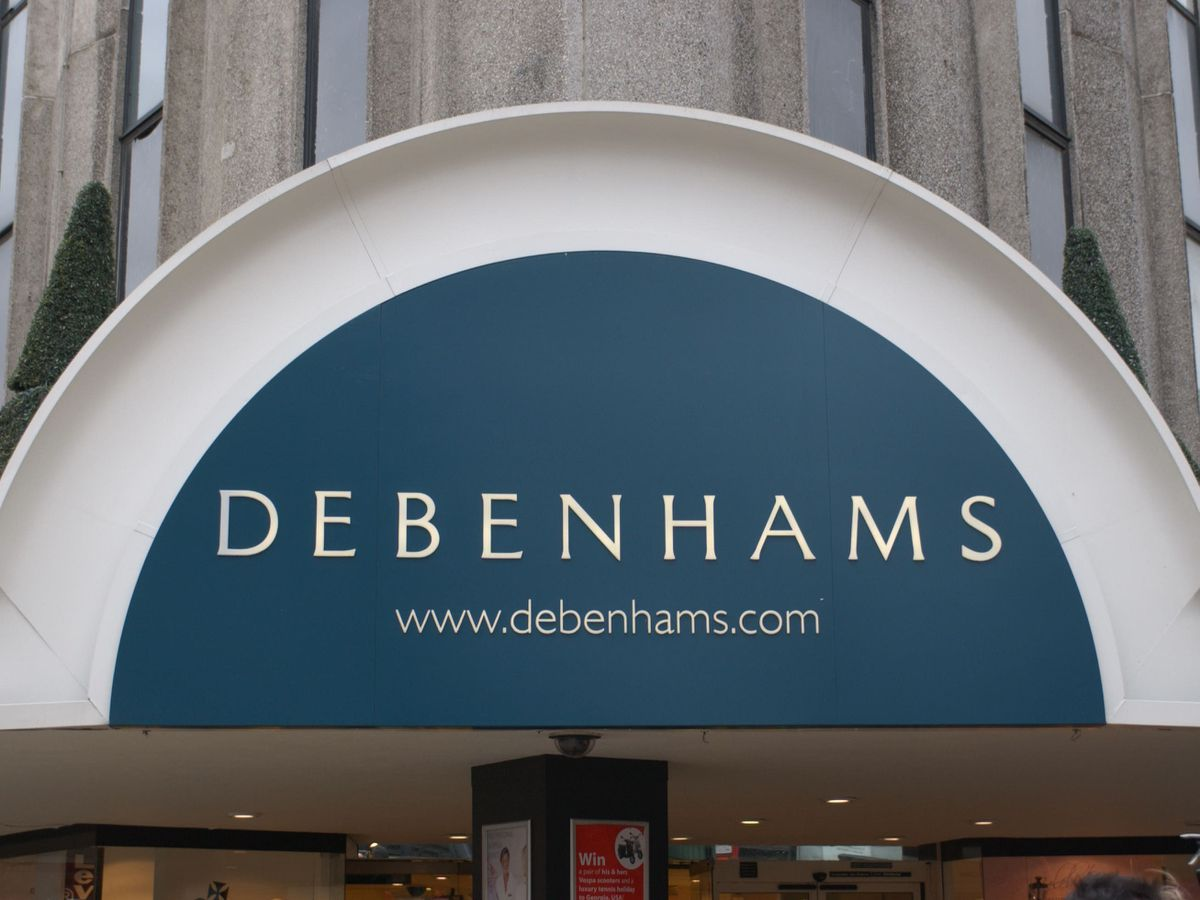 A Debenhams' shop sign