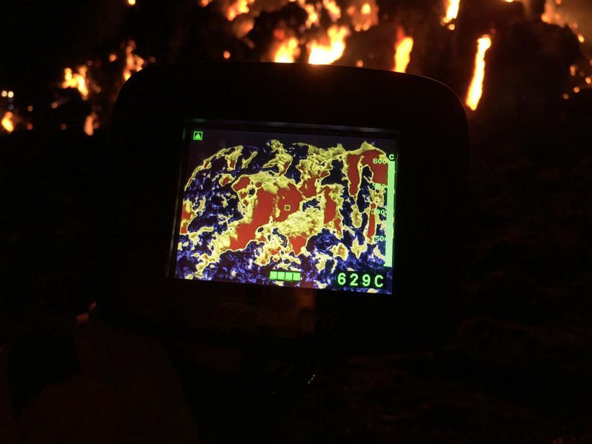 The thermal imaging camera recording the heat of the blaze. Pic: https://twitter.com/SFRS_Wenlock