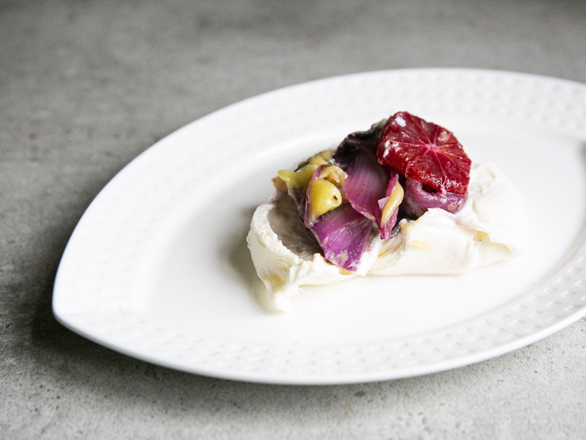 Burrata, blood orange and pickled tardivo
