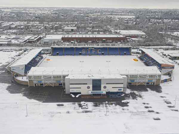 An aerial view of snow at the Montgomery Waters Meadow, the home of Shrewsbury Town. Photo: AMA
