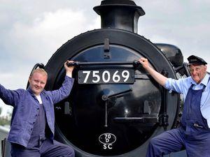 Severn Valley Railway fireman Joshua Harvey with driver Tony Bending