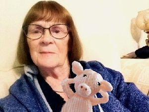 Rita has been knitting the pigs to help get over the grief after losing her husband