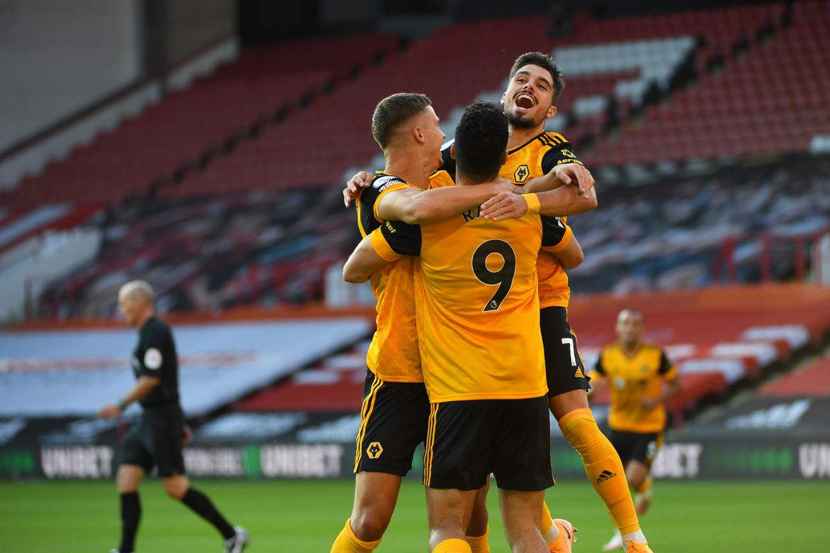 Raul Jimenez of Wolverhampton Wanderers celebrates after scoring a goal to make it 0-1 during his 100th appearance (AMA)
