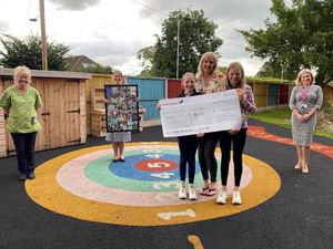 From left, play specialist Polly Brown, Suzanne Marsden, the Alice Ward and children's outpatients manager; Charlotte, Janine and Eleanor Bloor, and Victoria Sugden, RJAH Charity Representative
