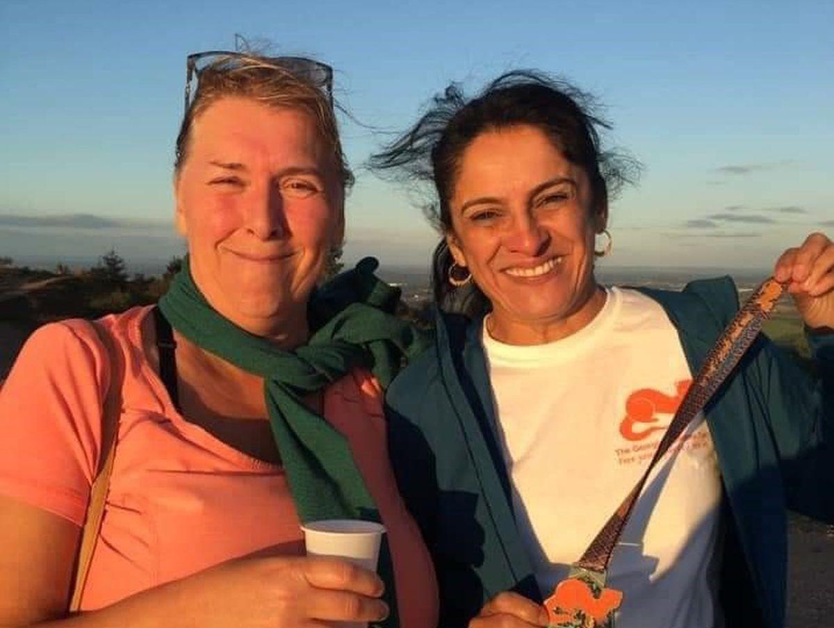 Lynette Williams with Julie Kaur on top of The Wrekin