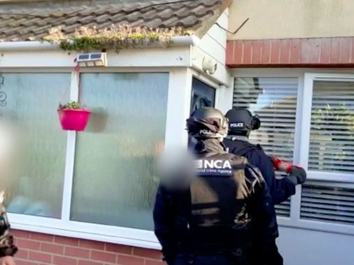 Officers during early morning raids in County Durham on Wednesday.