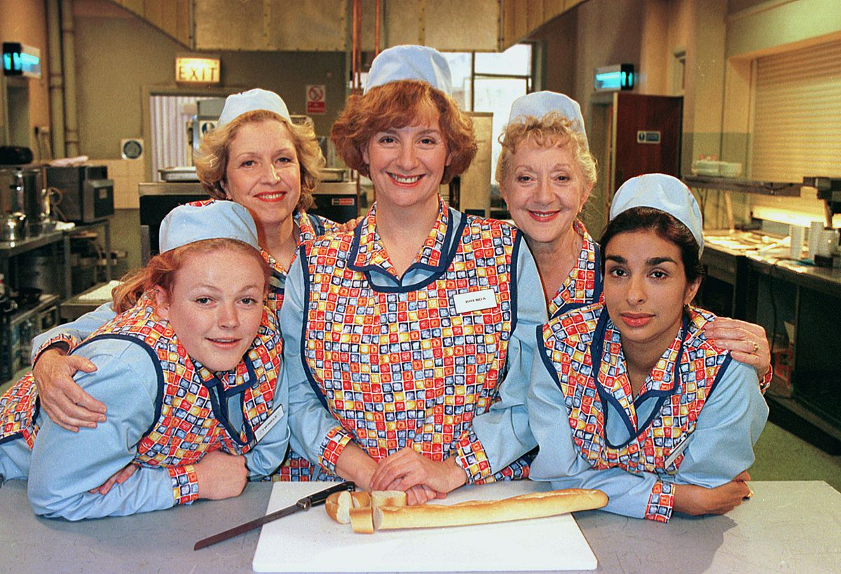 Shobna, right, in Dinnerladies with, from left, Maxine Peake, Anne Reid, the late Victoria Wood and Thelma Barlow