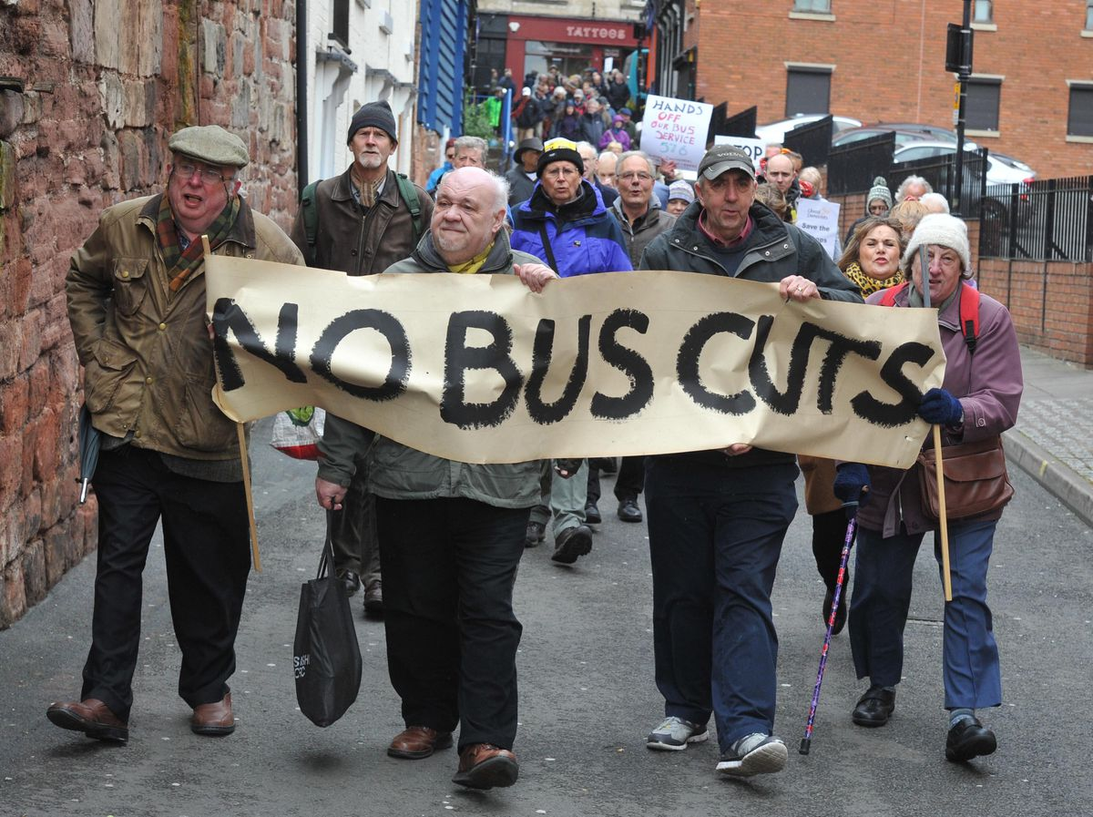Protesters say no to cuts to bus services