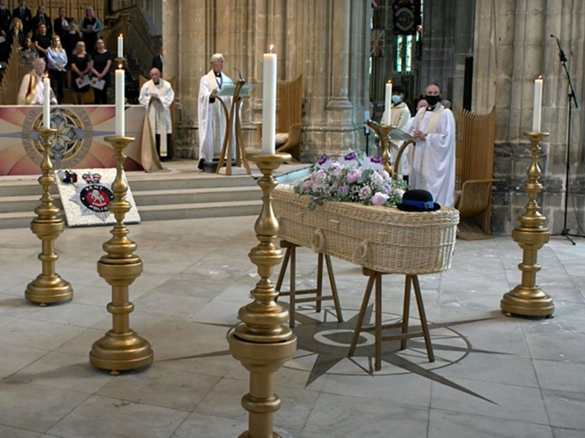 PCSO Julia James's coffin rests in front of the altar during her funeral service at Canterbury Cathedral