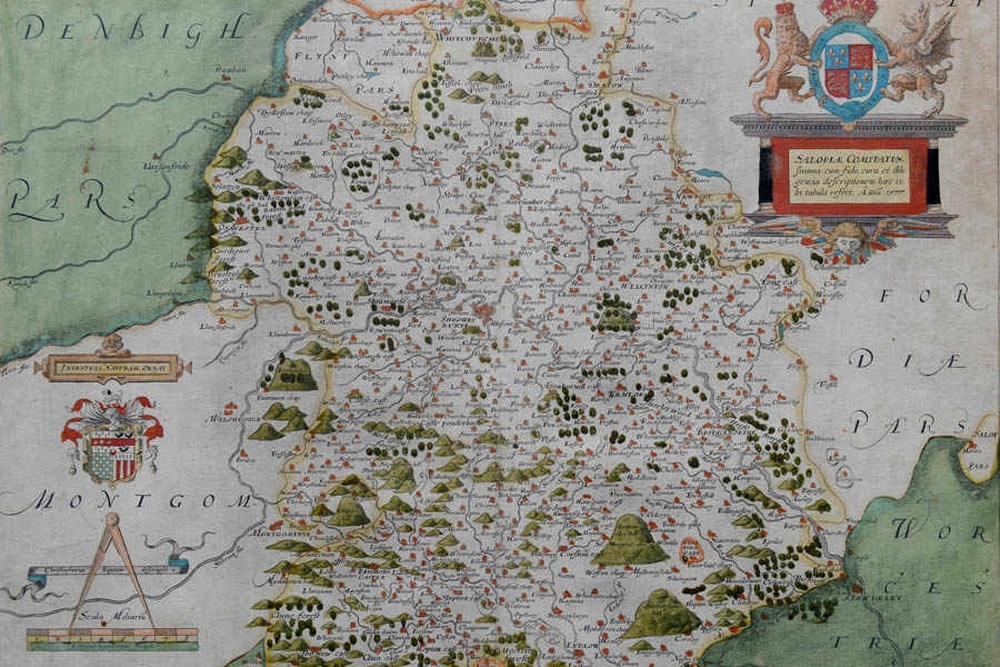 The First Ever Map Of Shropshire Up For Sale Shropshire Star - Antique maps for sale uk