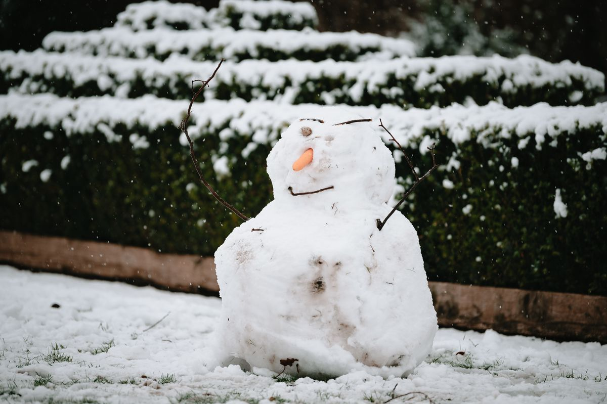 A snowman in Bridgnorth, which was one of the first areas to get snow in Shropshire