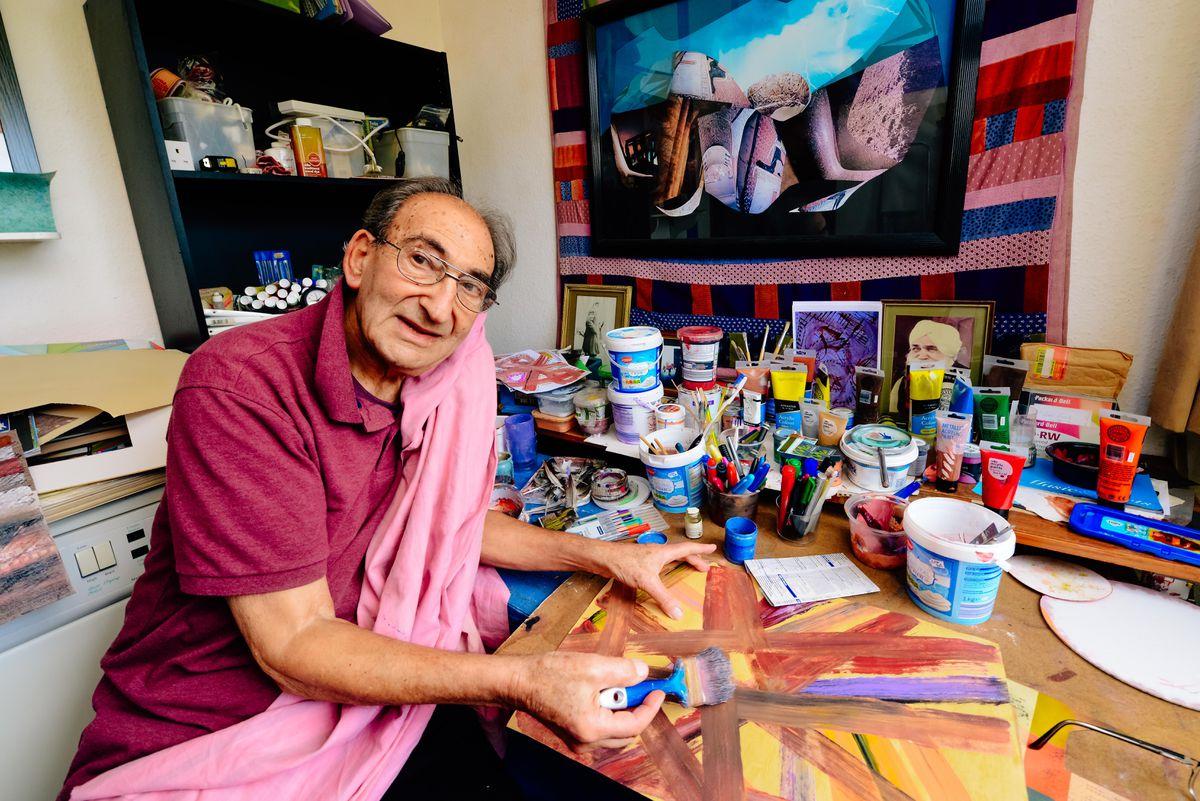 Malcolm Tillis in the studio of his Shrewsbury home