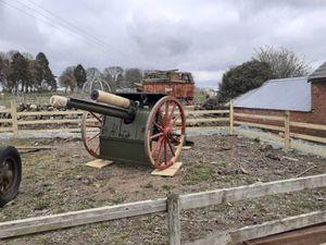 The replica artillery gun at Park Hall Countryside Attraction
