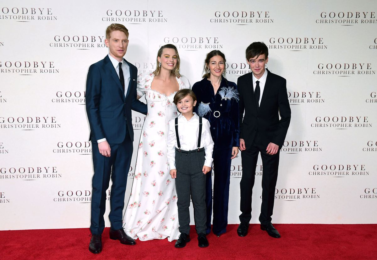 Domhnall Gleeson, Margot Robbie, Will Tilston, Kelly MacDonald and Alex Lawther attending the world premiere of Goodbye Christopher Robin at the Odeon in Leicester Square, London