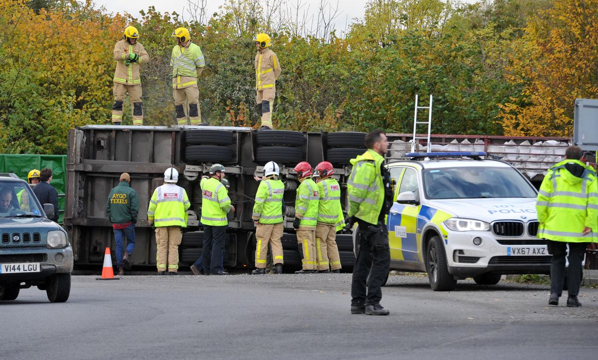 The overturned lorry