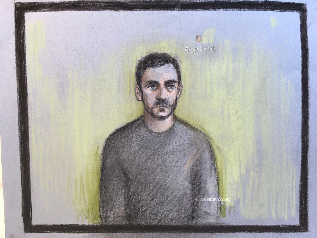 Court sketch of Maurice Robinson