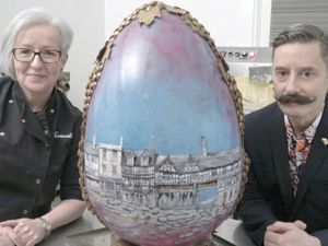 The Baravelli's giant Shrewsbury egg featured a stunning Wyle Cop streetscape created by James St Clair Wade
