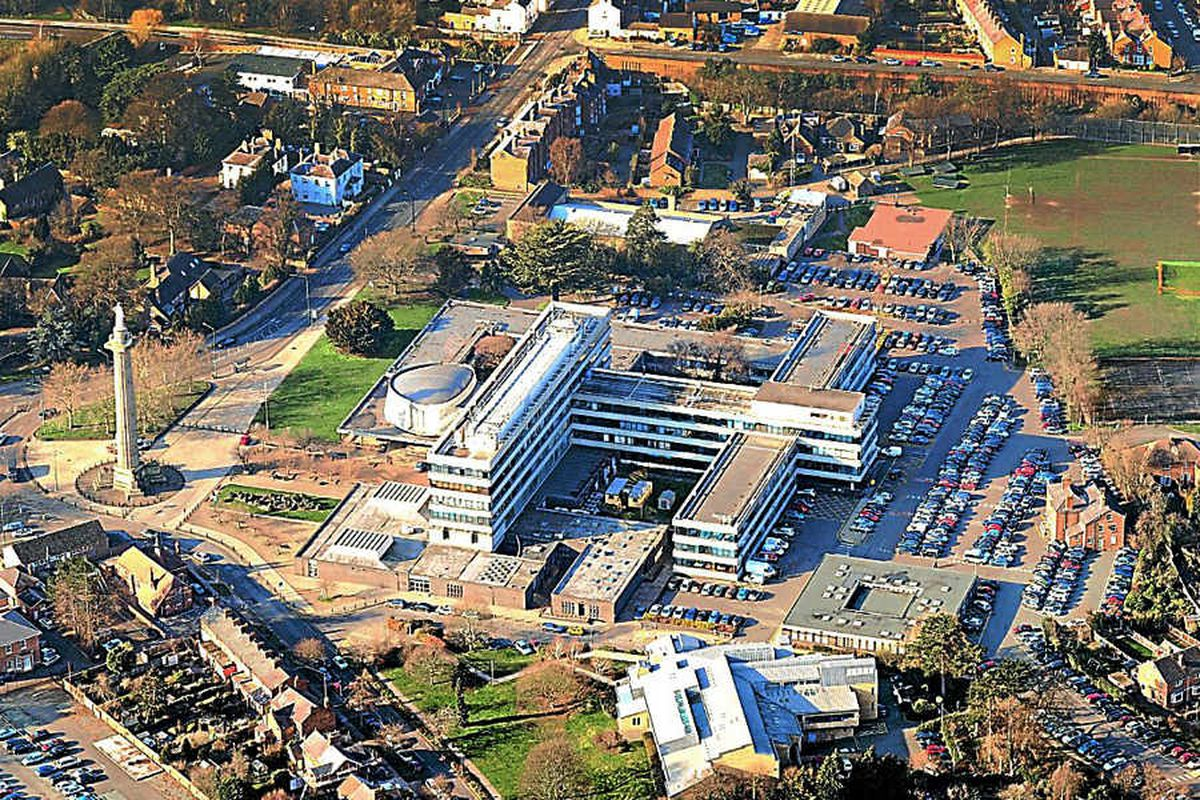 An aerial view of Shirehall, home to Shropshire Council