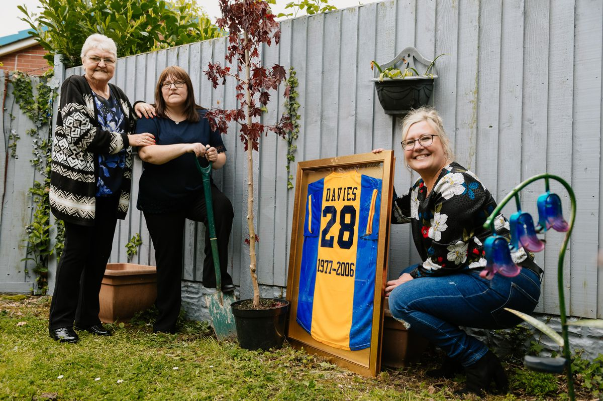 Planting a tree in honour of former Shrewsbury Town steward Mark Davies are his mother Joan Davies, sister Julie Davies and sister Wendy Thorne