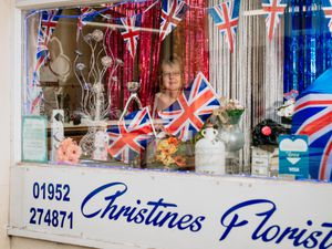 Christine's Florist in Oakengates dresses up their window display to mark VE Day. In Picture: Christine Orford.