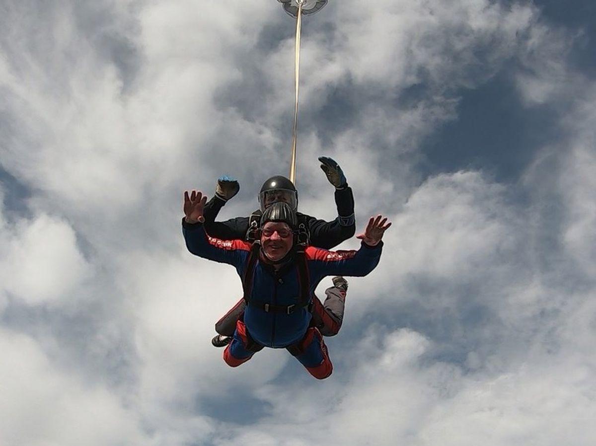 Shrewsbury mayor Phil Gillam soars through the air