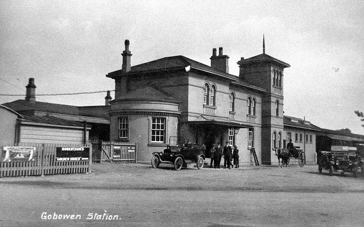 """Gobowen Railway Station as seen in a postcard franked in April 1928. According to the salvaged volume the village had no """"principal residents."""""""