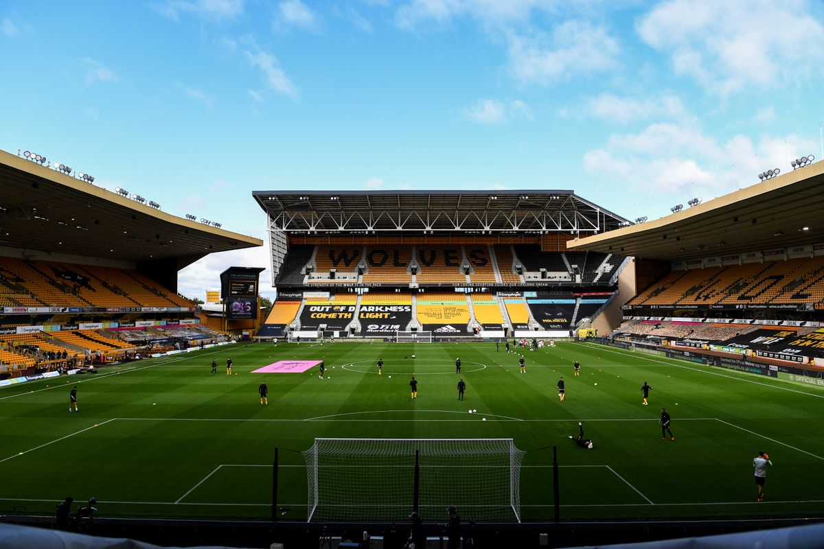 A general view of and empty Molineux Stadium, home stadium of Wolverhampton Wanderers as both teams warm up. (AMA)