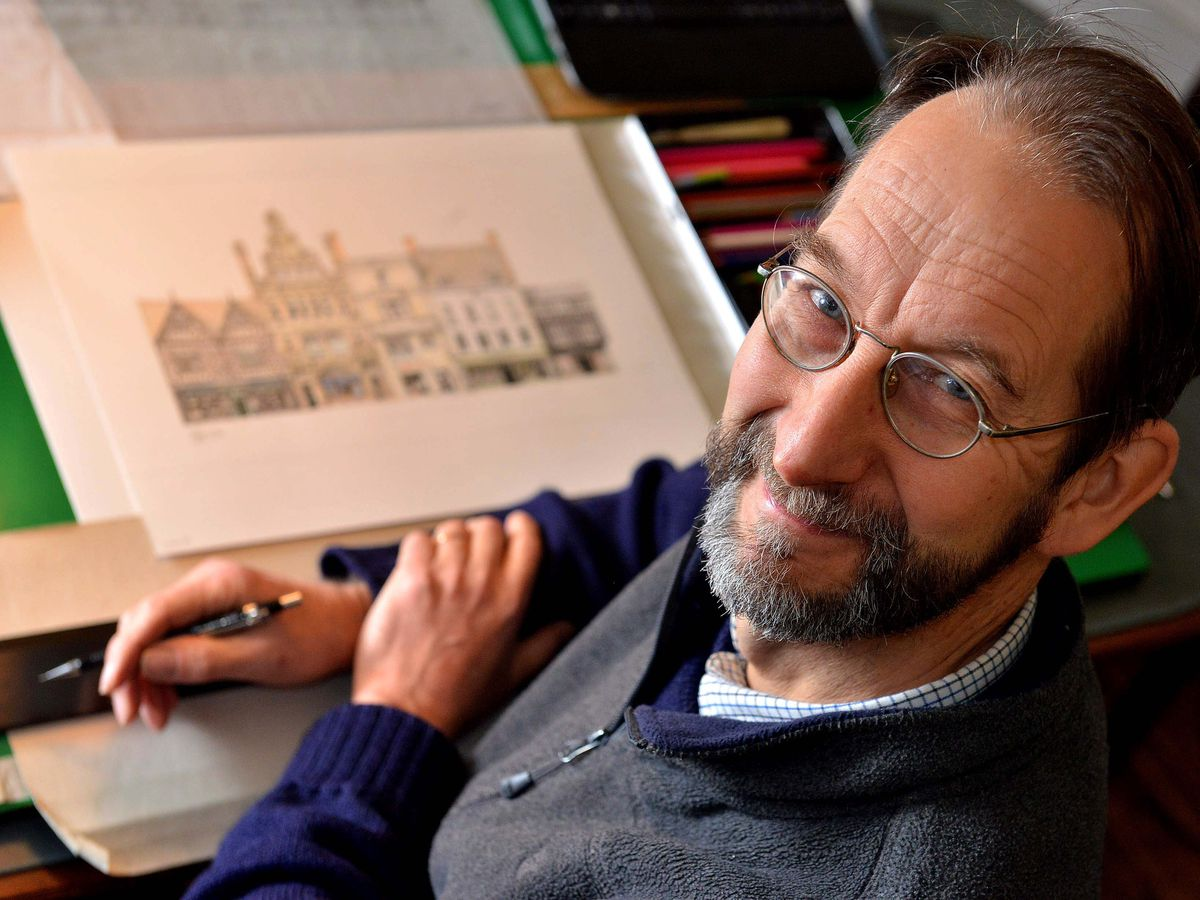 James Wade has been drawing the buildings of Shrewsbury