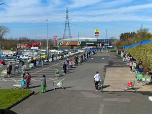 Shoppers kept their distance at Asda in Great Bridge but people were congregating elsewhere over the weekend. Photo: John Kennett