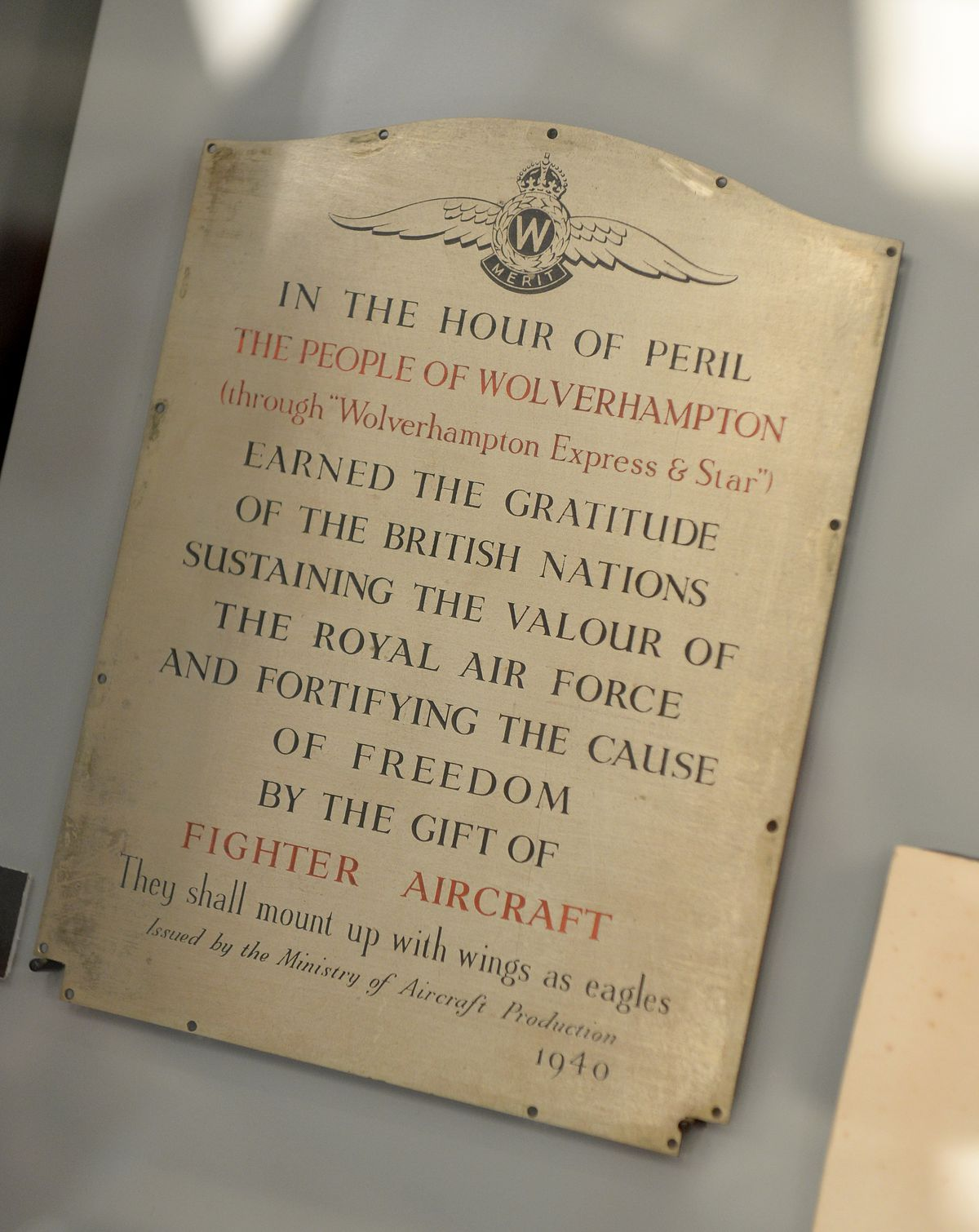 A plaque awarded to the Express & Star in 1940, for its contribution to raising funds for fighter aircraft, is part of the exhibition.