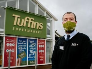 Kenny Brown, manager of Harry Tuffins in Craven Arms, which has been insisting on customers wearing face masks since the Covid crisis began.