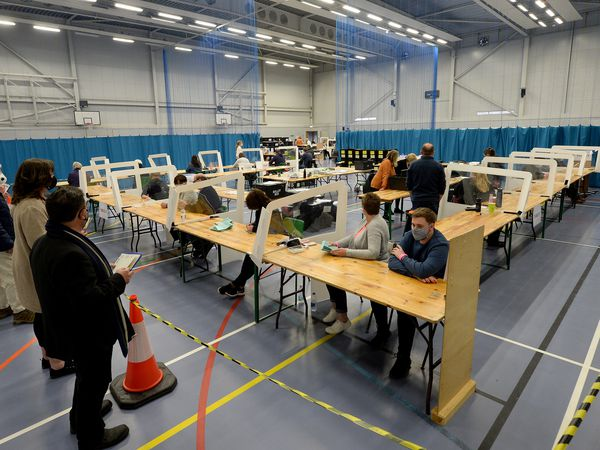 The election count at the Sports Village in Shrewsbury