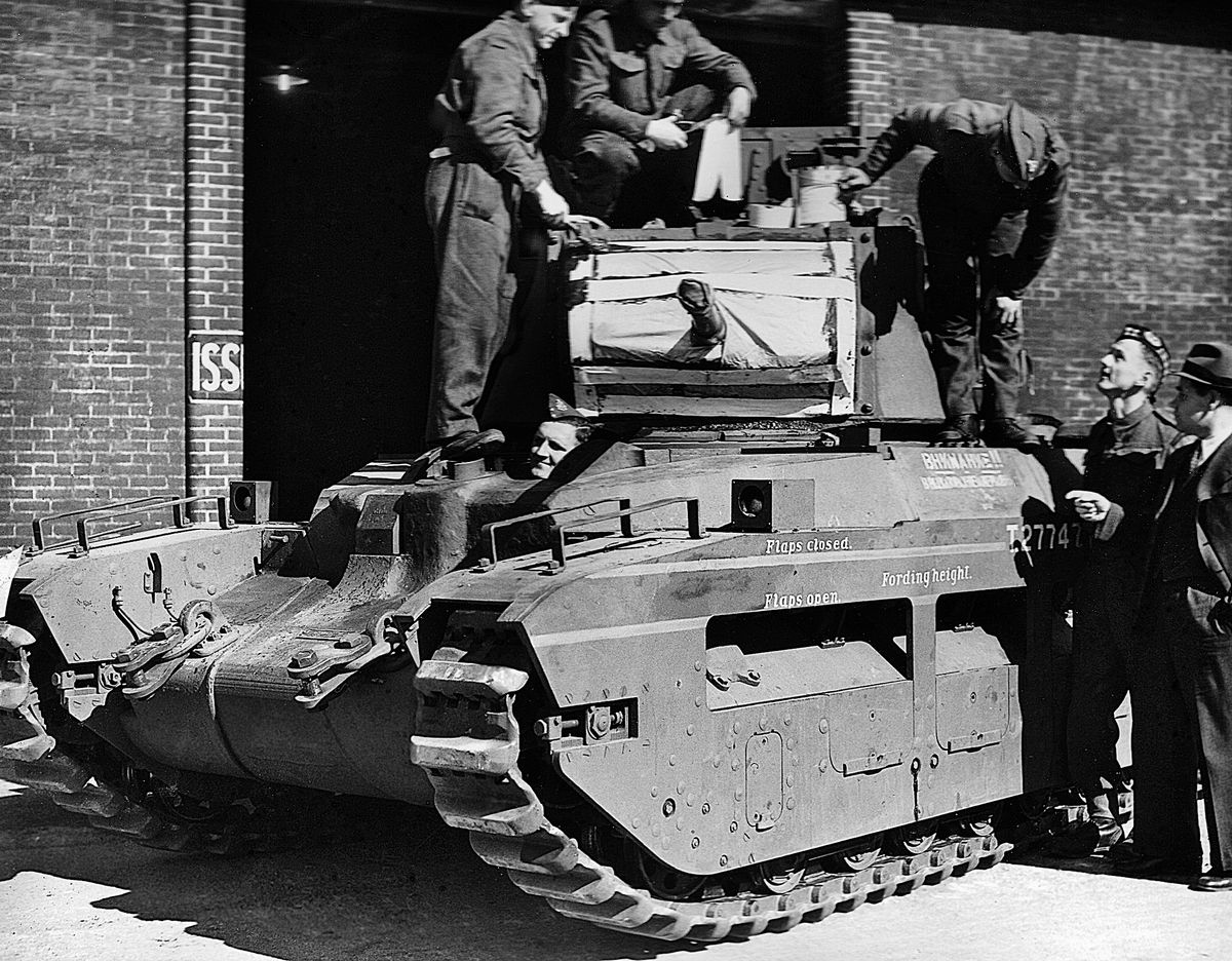 A Matilda tank at COD Donnington bound for Russia.