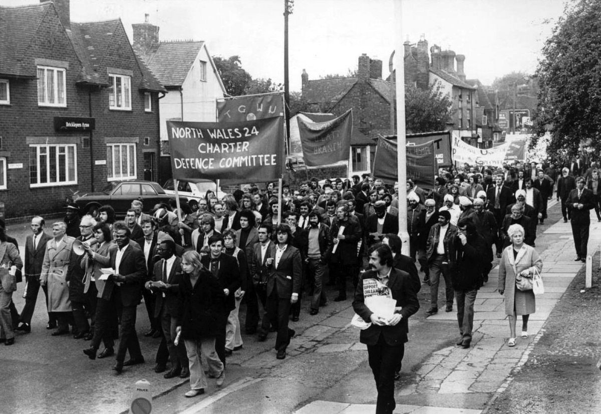 Banner-carrying demonstrators marched through Shrewsbury as the trial began in October 1973.