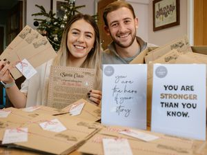 Chloe Spooner and Ben Smith from Unique to You printers are sending 400 Father Christmas letters to Great Ormond Street Hospital