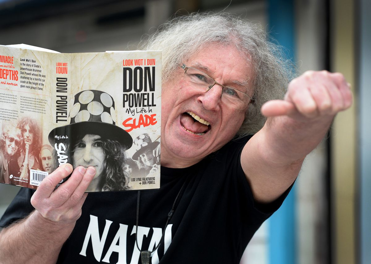 Slade drummer Don Powell with his biography Look Wot I Dun – My Life In Slade