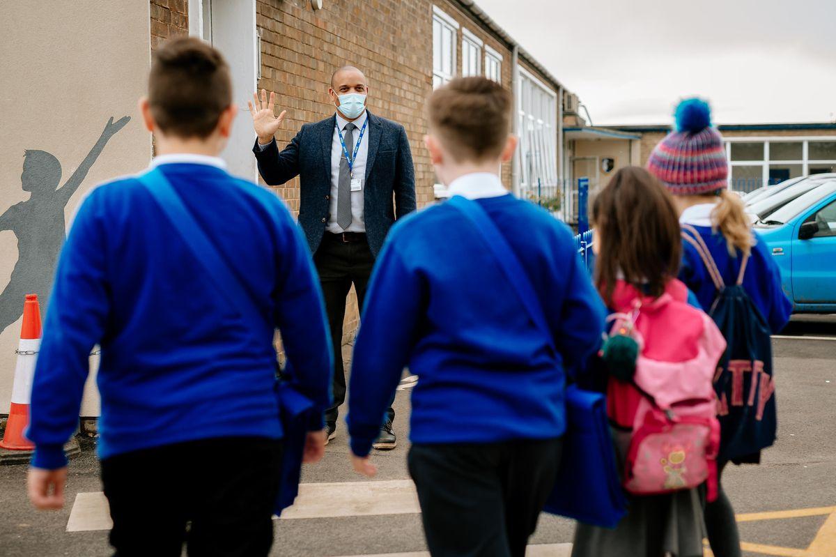 Pupils were welcomed back by headteacher Stuart Roberts
