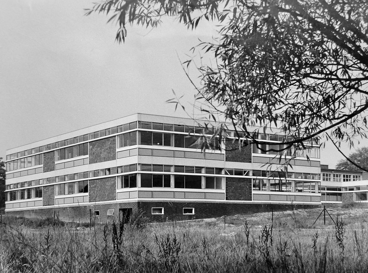 """This should be familiar to quite a few Salopians as it will have been part of their education. This is Radbrook College, Shrewsbury, seen on August 30, 1966. It was, according to the accompanying story """"now a fully fledged college of education running three year courses leading to institutional management, and the teaching of home economics in schools and adult centres."""""""