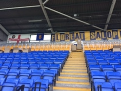 Shrewsbury Town installation of safe standing progressing well at Montgomery Waters Meadow