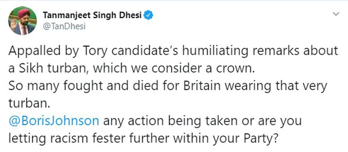 A tweet from Tanmanjeet Singh Dhesi