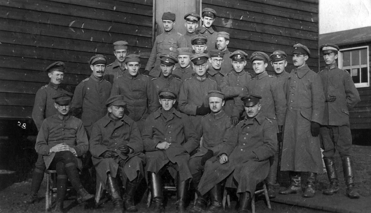 Kirsten Vollmer's photo shows her grandfather, Max Kuntze, as a prisoner at Park Wall, second from right.