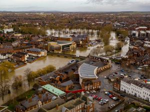 Flooding in Shrewsbury town centre on Tuesday after Storm Dennis. Photo: Shropshire Council and the Drone Rangers