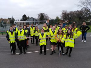 Pupils and teachers from The Priory School carried out a community litter pick