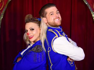 Andreea and Joel as the clown and ringmaster. Photo: Andrew Payen