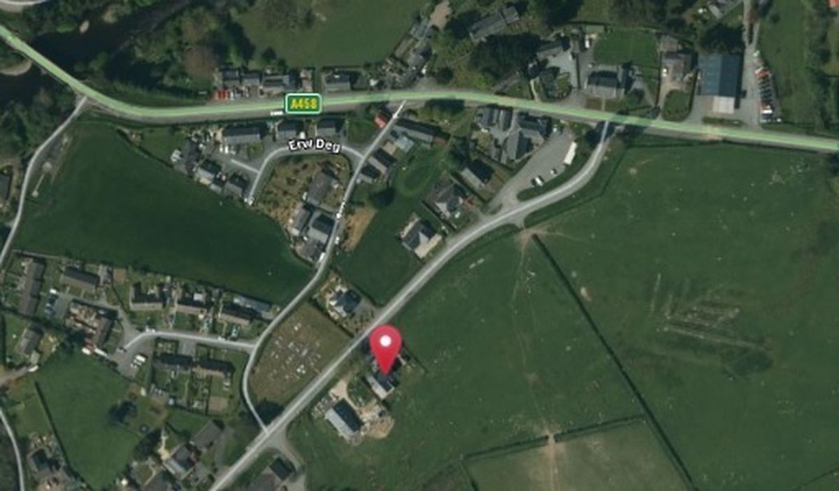Llanerfyl Aerial from UK Grid Reference finder, the proposed development at Derwen on Talerddig Road site is shown in the context of t the village.
