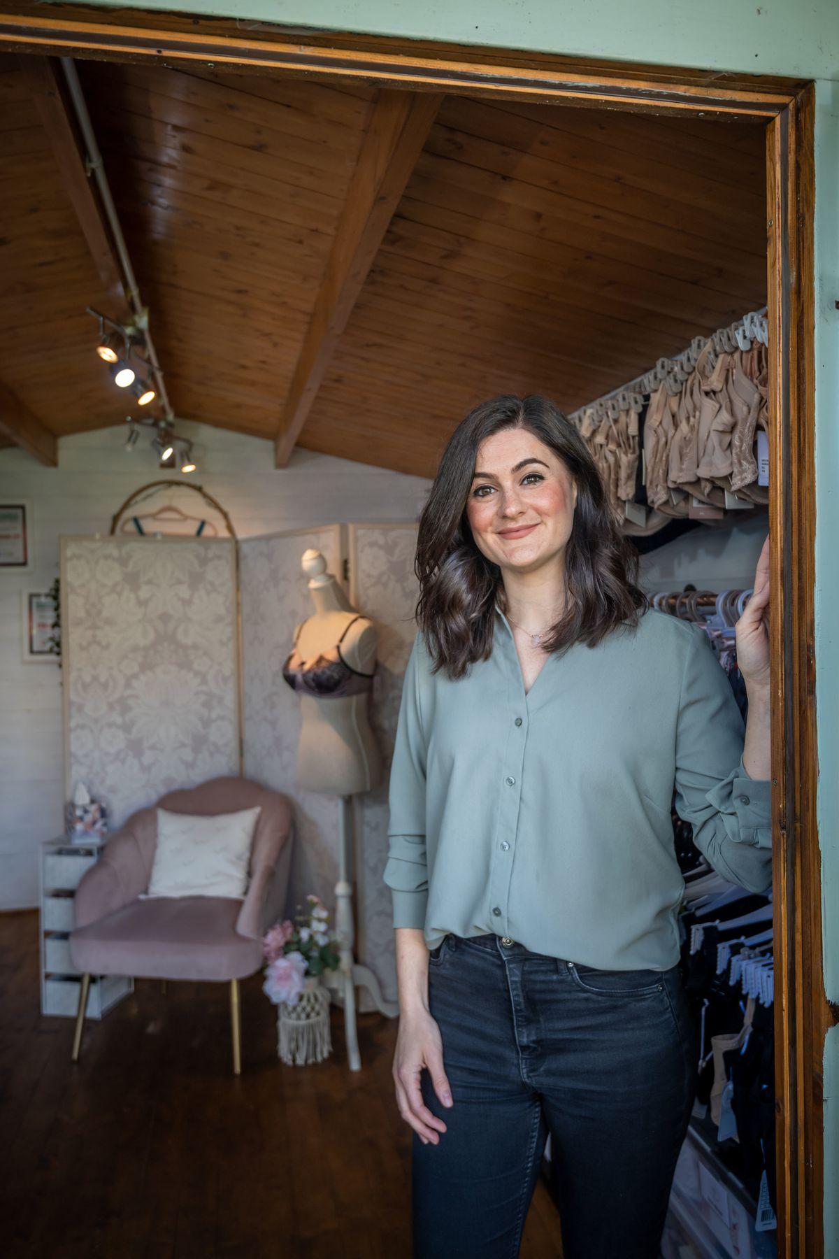 Joanna van Blommestein in her shed The Bra Boss of Kent HQ, in Faversham, Kent