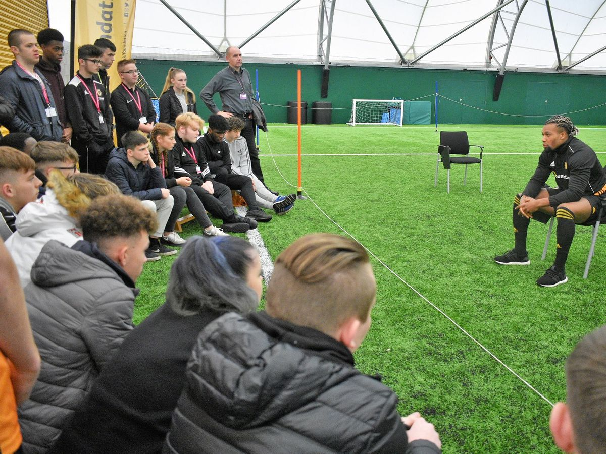 Adama Traore answers questions from Telford College students