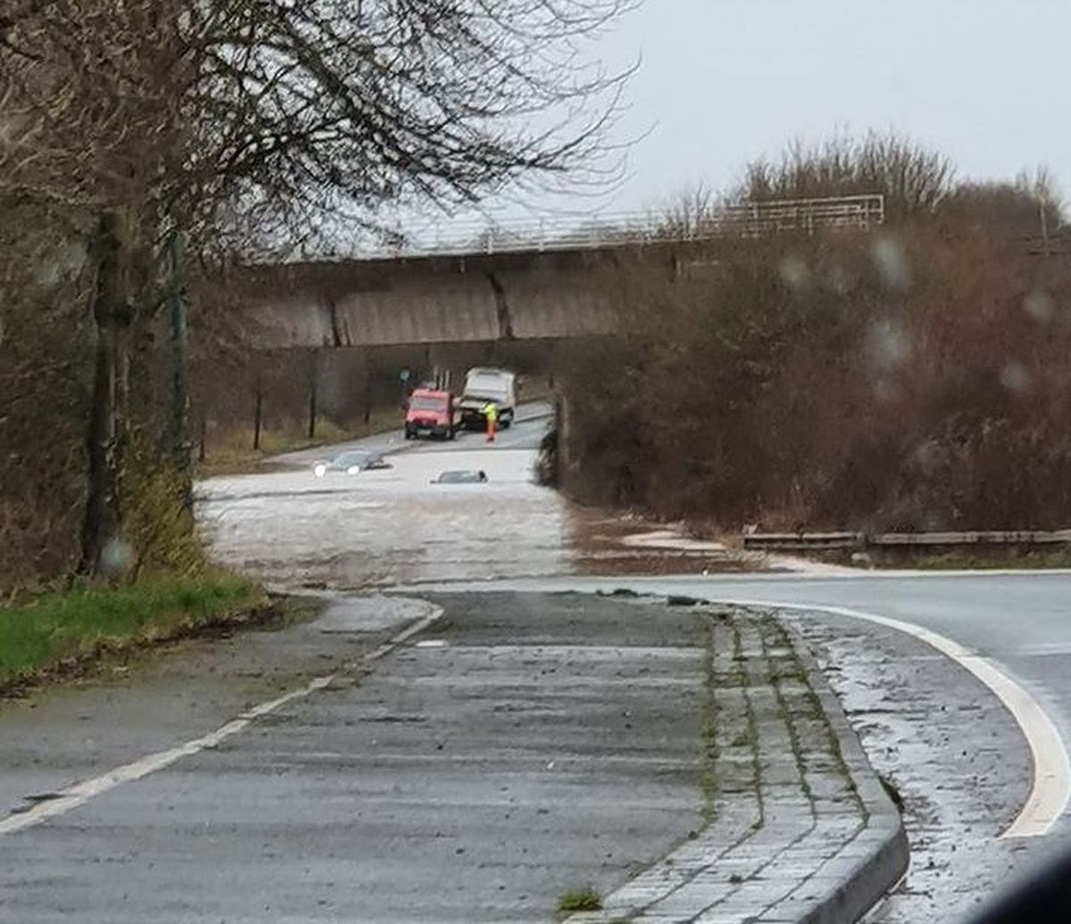 Storm Dennis flooding on the Battlefield Link Road in Shrewsbury. Photo: Siobhan Owen