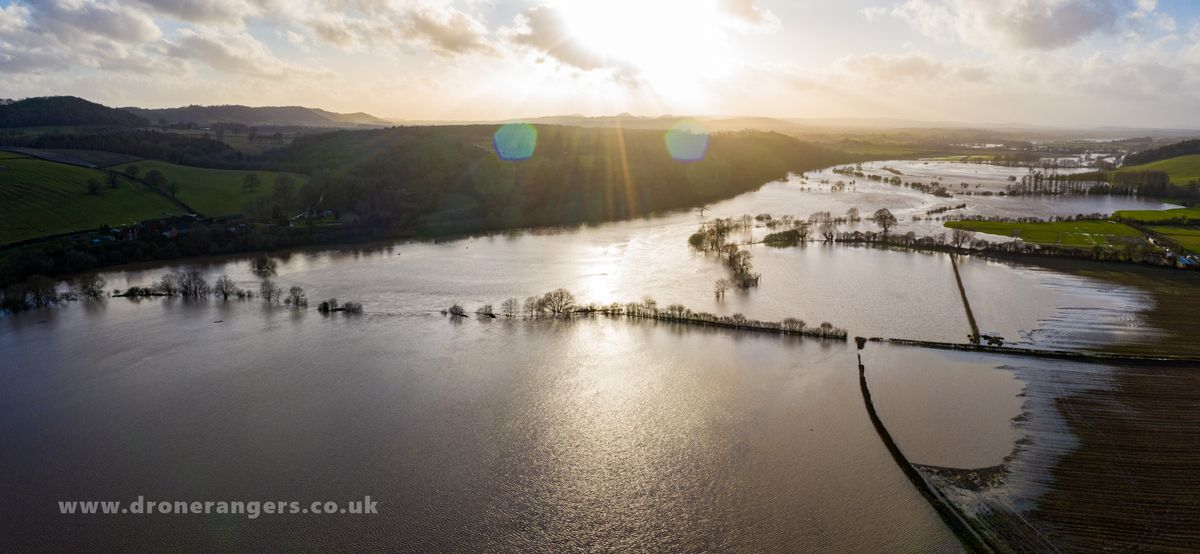 River Severn flooding after Storm Dennis. Photo: Shropshire Council and the Drone Rangers